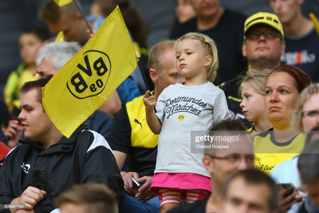 Fans of of Dortmund are seen during the Borussia Dortmund Season Opening 2017/18 at Signal Iduna Park on August 4, 2017 in Dortmund, Germany.