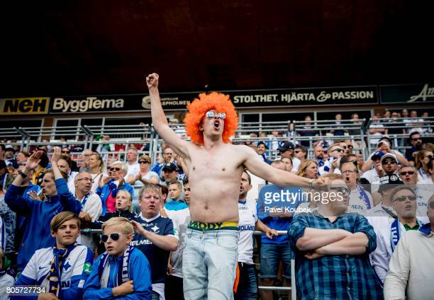 Fans of of IFK Norrkoping during the Allsvenskan match between Orebro SK and IFK Norrkoping at Behrn Arena on July 2 2017 in Orebro Sweden