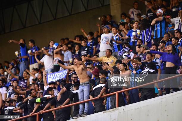 Fans of of Queretaro react during the 13th round match between Queretaro and Puebla as part of the Torneo Clausura 2018 Liga MX at La Corregidora...