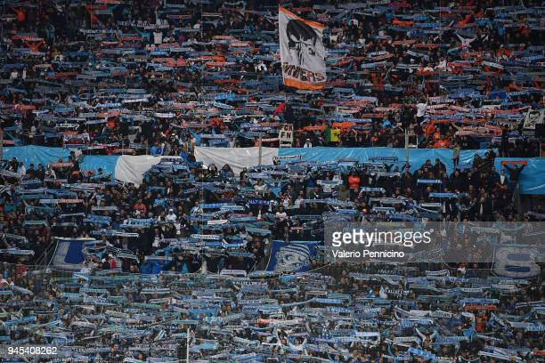 Fans of Olympique Marseille show their support during the UEFA Europa League quarter final leg two match between Olympique Marseille and RB Leipzig...