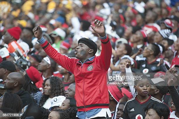 Fans of Orlando Pirates support their team during Ekstein Hendrick Kaizer Chiefs FC during 2016 Carling Black Label Cup between Kaizer Chiefs FC and...