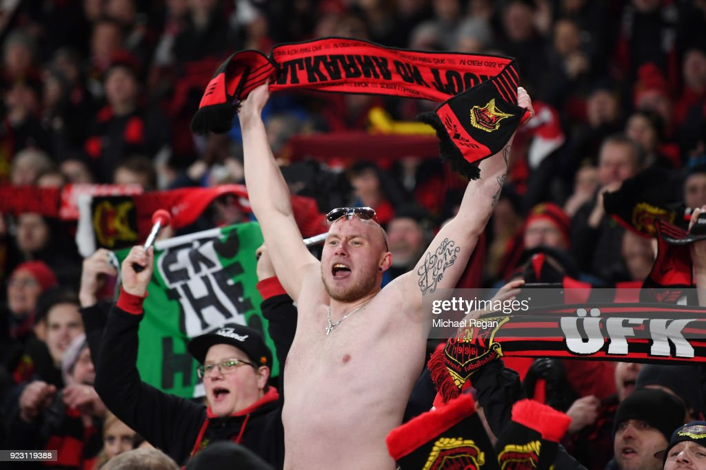Fans of Ostersunds FK cheer during UEFA Europa League Round of 32 match between Arsenal and Ostersunds FK at the Emirates Stadium on February 22, 2018 in London, United Kingdom.