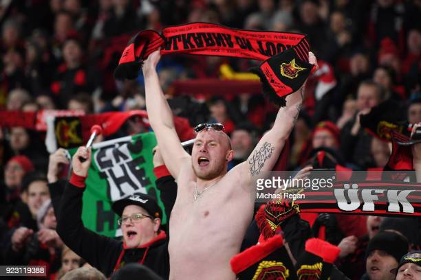 Fans of Ostersunds FK cheer during UEFA Europa League Round of 32 match between Arsenal and Ostersunds FK at the Emirates Stadium on February 22,...