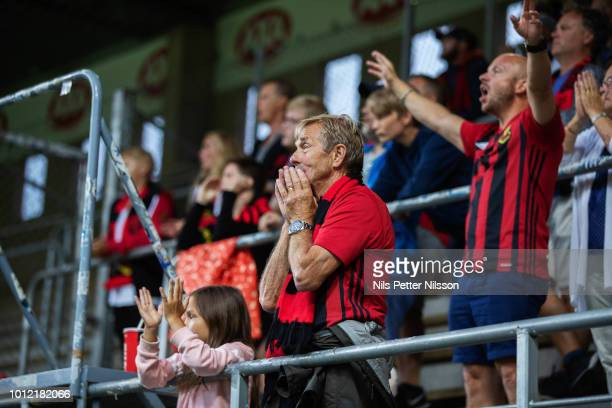 Fans of Ostersunds FK during the Allsvenskan match between IF Elfsborg and Ostersunds FK at Boras Arena on August 6 2018 in Boras Sweden