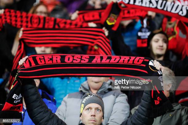 Fans of Ostersunds FK during the UEFA Europa League group J match between Ostersunds FK and Hertha BSC at Jamtkraft Arena on September 28, 2017 in...
