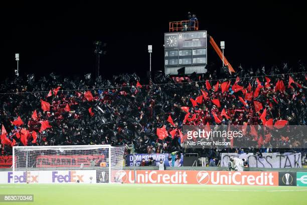 Fans of Ostersunds FK during the UEFA Europa League group J match between Ostersunds FK and Athletic Bilbao at Jamtkraft Arena on October 19 2017 in...