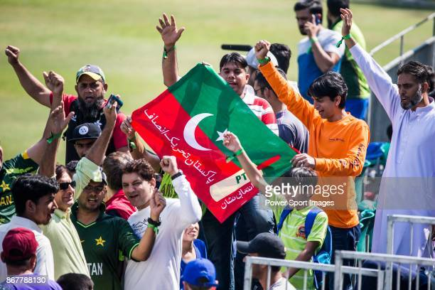 Fans of Pakistan Team wave the flag and show their supports during Day 2 of Hong Kong Cricket World Sixes 2017 Cup Semi 2 match between Pakistan vs...