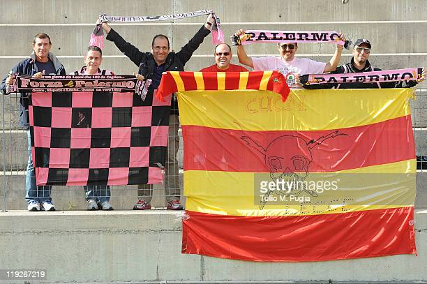 Fans of Palermo and Lecce show their support during a Palermo training session at Sport Well Center on July 15 2011 in Malles Venosta near Bolzano...