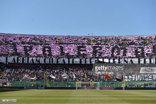 Fans of Palermo show their support during the serie A match between US Citta di Palermo and AC Cesena at Stadio Renzo Barbera on May 12 2018 in...