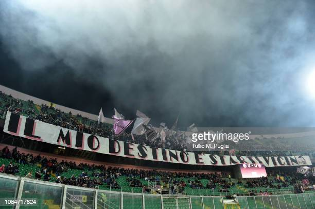 Fans of Palermo show their support during the Serie B match between US Citta di Palermo and US Salernitana at Stadio Renzo Barbera on January 18 2019...