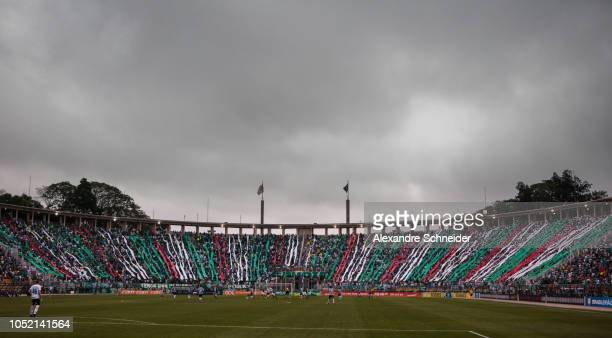 Fans of Palmeiras cheer during the match against Gremio for the Brasileirao Series A 2018 at Pacaembu Stadium on October 14 2018 in Sao Paulo Brazil