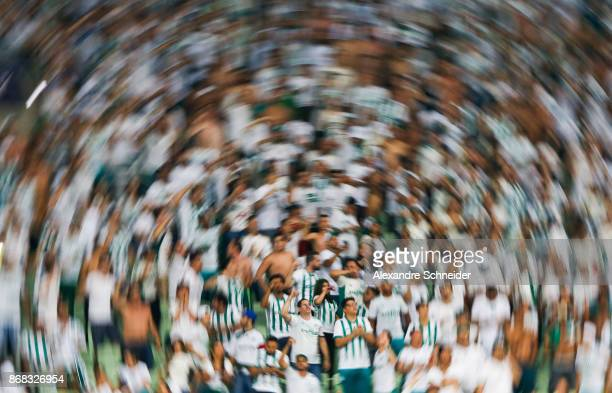 Fans of Palmeiras cheer during the match between Palmeiras and Cruzeiro for the Brasileirao Series A 2017 at Allianz Parque Stadium on October 30...