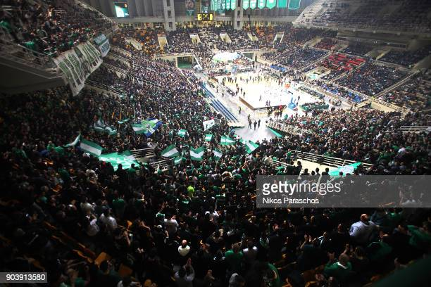 Fans of Panathinaikos react during the 2017/2018 Turkish Airlines EuroLeague Regular Season Round 17 game between Panathinaikos Superfoods Athens and...
