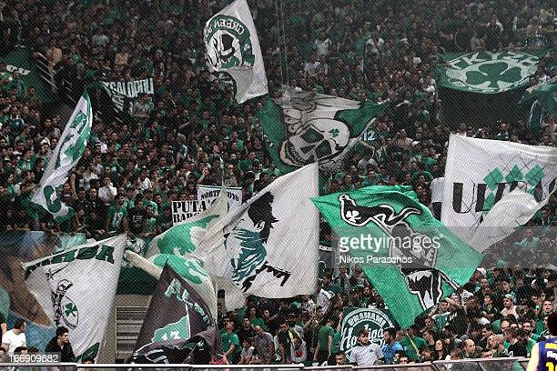 Fans of Panathinaikos react during the Turkish Airlines Euroleague 20122013 Play Offs game 4 between Panathinaikos Athens v FC Barcelona Regal at...