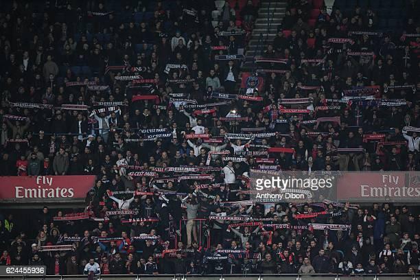 Fans of Paris during the Ligue 1 match between Paris Saint Germain PSG and Fc Nantes at Parc des Princes on November 19 2016 in Paris France
