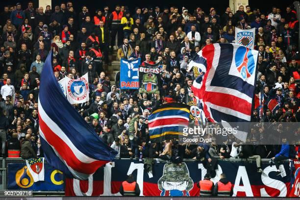 Fans of Paris Saint Germain during the Ligue 1 match between Amiens and Paris Saint Germain at Stade de la Licorne on January 10 2018 in Amiens France