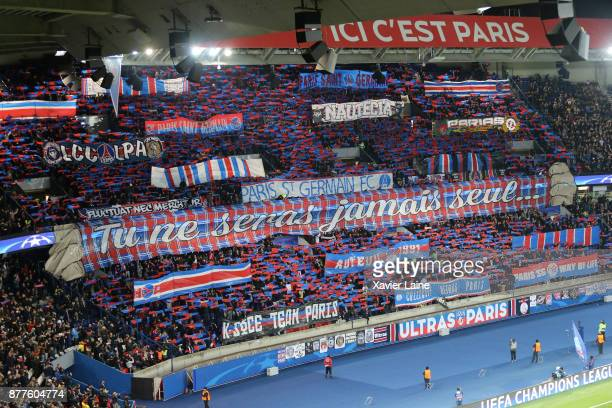 Fans of Paris SaintGermain before the UEFA Champions League group B match between Paris SaintGermain and Celtic Glasgow at Parc des Princes on...