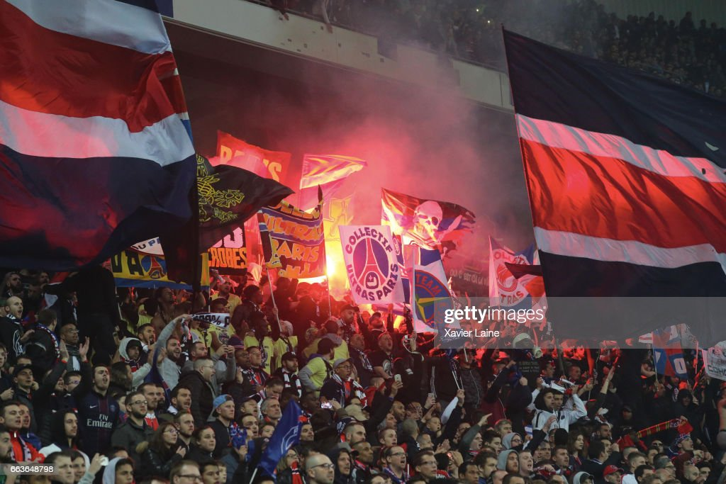 Fans of Paris Saint-Germain celebrate the victory after the French League Cup Final match between Paris Saint-Germain and AS Monaco at Parc Olympique on Japril 01, 2017 in Lyon, France.