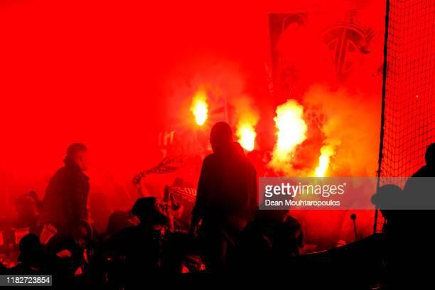 Fans of Paris Saint-Germain light flares during the UEFA Champions League group A match between Club Brugge KV and Paris Saint-Germain at Jan Breydel...