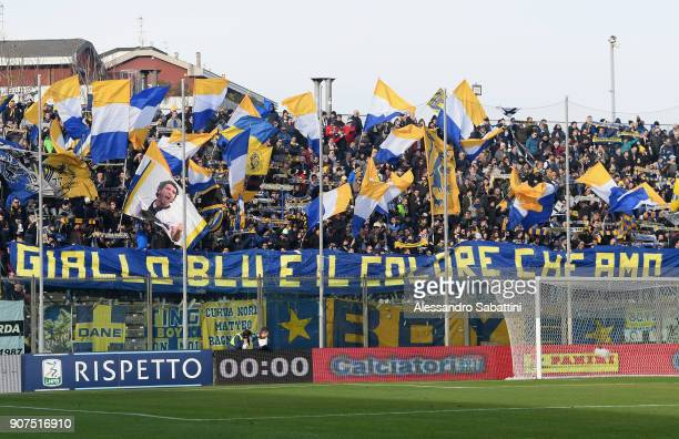 Fans of Parma Calcio before the serie B match between US Cremonese and Parma FC at Stadio Giovanni Zini on January 20 2018 in Cremona Italy