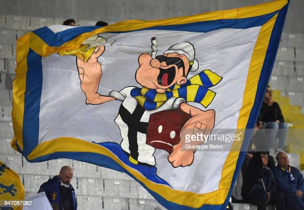 Fans of Parma Calcio during the match between Ascoli Picchio and Parma Calcio at Stadio Cino e Lillo Del Duca on April 16 2018 in Ascoli Piceno Italy