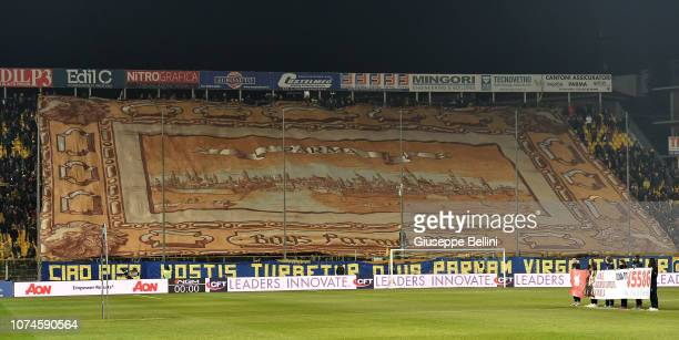 Fans of Parma Calcio during the Serie A match between Parma Calcio and Bologna FC at Stadio Ennio Tardini on December 22 2018 in Parma Italy