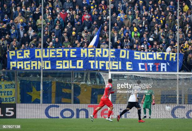 Fans of Parma Calcio during the serie B match between US Cremonese and Parma FC at Stadio Giovanni Zini on January 20 2018 in Cremona Italy