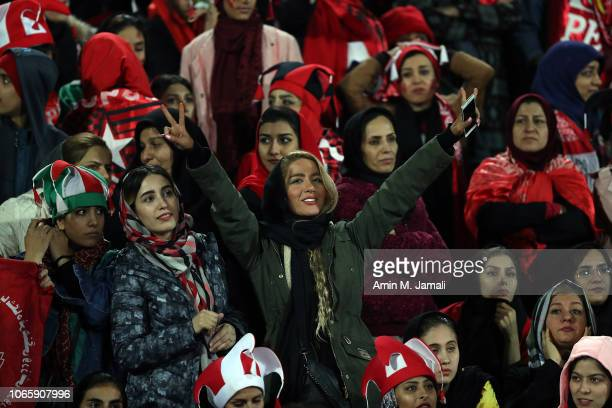 Fans of Persepolis looks on during the AFC Champions League final second leg match between Persepolis and Kashima Antlers at Azadi Stadium on...