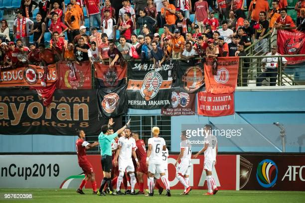 Fans of Persija Jakarta at the AFC Cup Zonal Semi final between Home United and Persija Jakarta at Jalan Besar Stadium on May 8 2018 in Singapore
