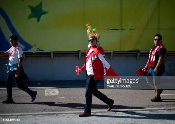 Fans of Peru arrive Maracana Stadium in Rio de Janeiro Brazil before the Copa America football tournament final match between Brazil and Peru on July...