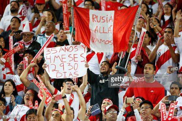 Fans of Peru cheer for their team before the second leg match between Peru and New Zealand as part of the 2018 FIFA World Cup Qualifier Playoff at...