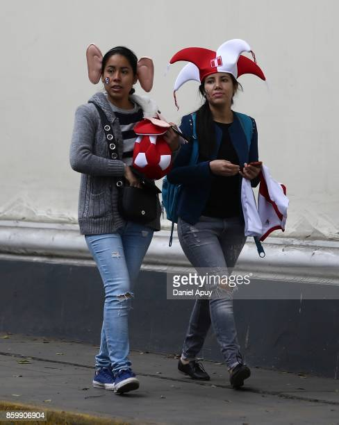 Fans of Peru walk to the stadium prior a match between Peru and Colombia as part of FIFA 2018 World Cup Qualifiers at Monumental Stadium on October...
