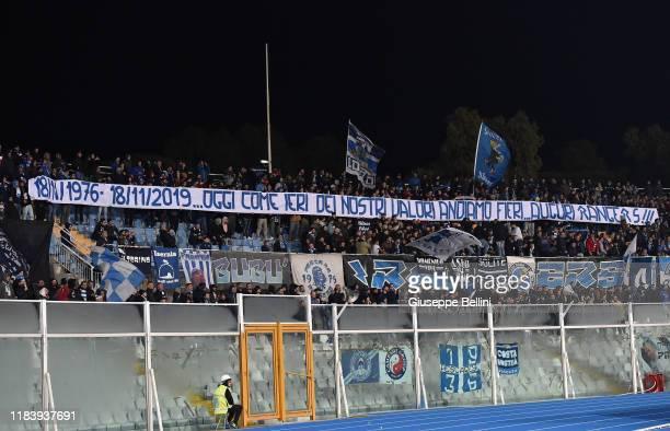 Fans of Pescara Calcio during Serie B match between Pescara Calcio and US Cremonese at Adriatico StadiumGiovanni Cornacchia on November 22 2019 in...