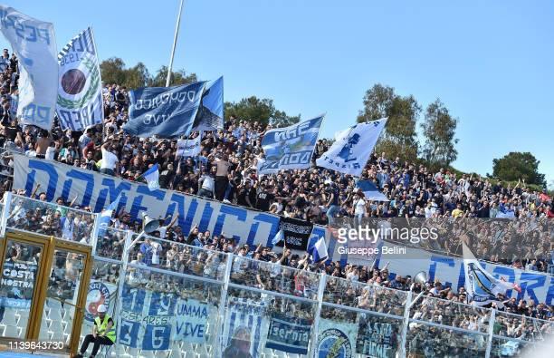 Fans of Pescara Calcio iduring the Serie B match between Pescara Calcio and Hellas Verona at Adriatico Stadium Giovanni Cornacchia on April 27, 2019...