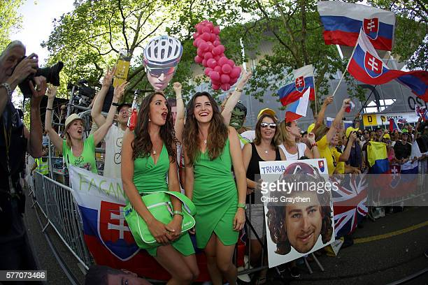 Fans of Peter Sagan of Slovakia riding for Tinkoff cheer after his win in stage 16 of the 2016 Le Tour de France a 209km stage from MoiransEnMontagne...