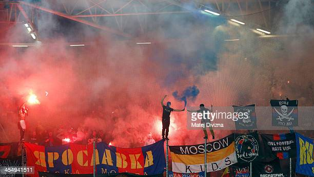 Fans of PFC CSKA Moscow celebrate during the UEFA Champions League group D match between PFC CSKA Moscow and Viktoria Plzen at Doosan arena on...