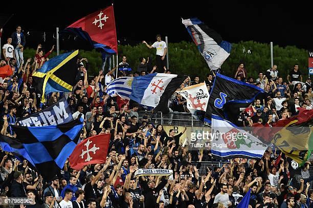 fans of Pisa show their support during the Serie B match between AC Pisa and Hells Verona at Arena Garibaldi on October 25 2016 in Pisa Italy