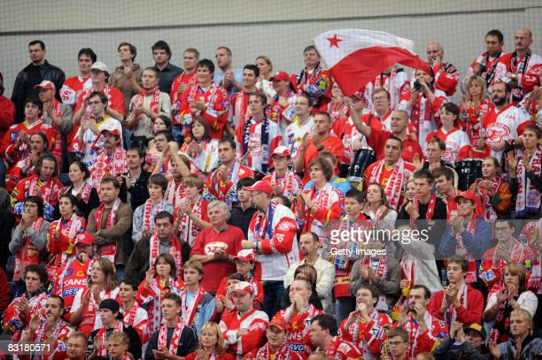 Fans of Prague are seen during the IIHF Champions Hockey League match between Slavia Prague and Linkoping HC on October 8 2008 in Ufa Russia