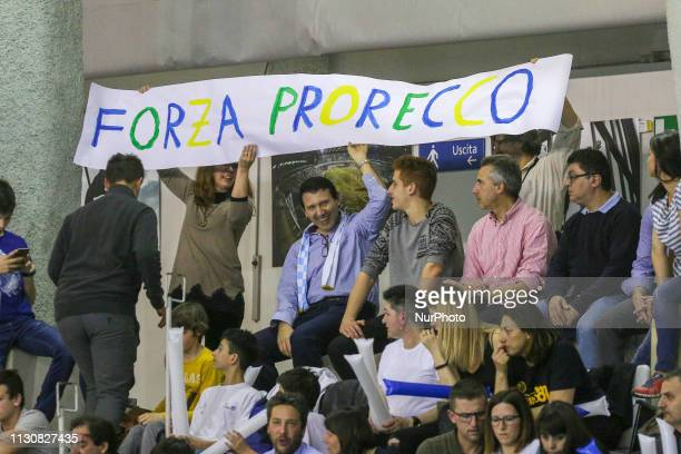 Fans of Pro Recco before the Champions League water polo match between Pro Recco and Barceloneta on march 15 2019 at Piscina Monumentale in Turin...