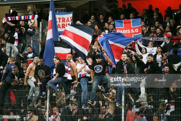 Fans of PSG at the end of the match during the French National Cup match between Stade Rennais and Paris Saint Germain Round of 32 on February 1 2017...