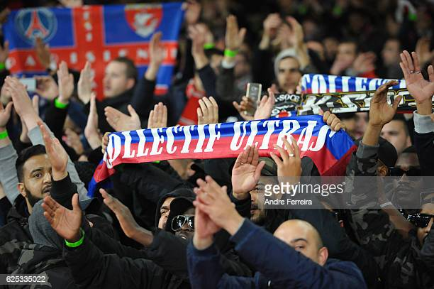 Fans of PSG during the Champions League match between Arsenal and Paris Saint Germain at Emirates Stadium on November 23 2016 in London England