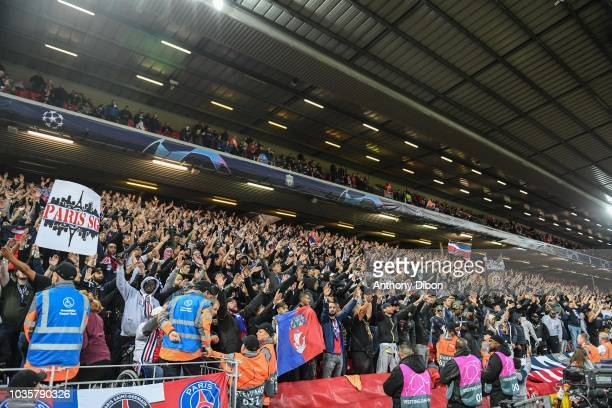 Fans of PSG during the Champions League match between Liverpool and Paris Saint Germain at Anfield on September 18 2018 in Liverpool England