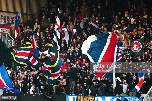 Fans of PSG during the French Ligue 1 match between Guingamp and Paris Saint Germain at Stade du Roudourou on December 17 2016 in Guingamp France
