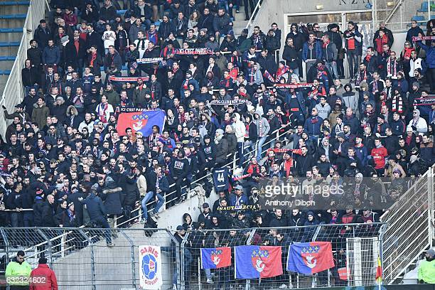 Fans of PSG during the French Ligue 1 match between Nantes and Paris Saint Germain at Stade de la Beaujoire on January 21 2017 in Nantes France