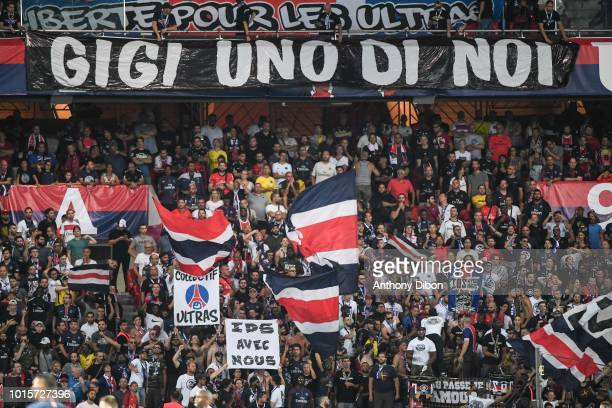 Fans of PSG during the French Ligue 1 match between Paris Saint Germain and Caen at Parc des Princes on August 12 2018 in Paris France
