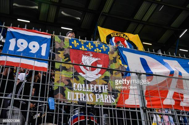 Fans of PSG during the French National Cup Quarter Final match between Us Avranches and Paris Saint Germain at Stade Michel D'Ornano on April 5 2017...