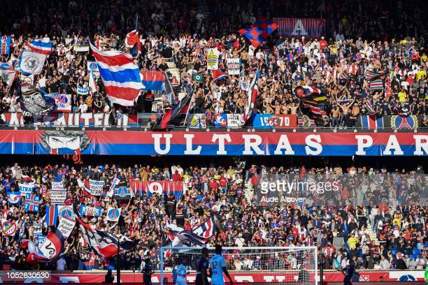 Fans of Psg during the Ligue 1 match between Paris Saint Germain and Amiens SC at Parc des Princes on October 20 2018 in Paris France