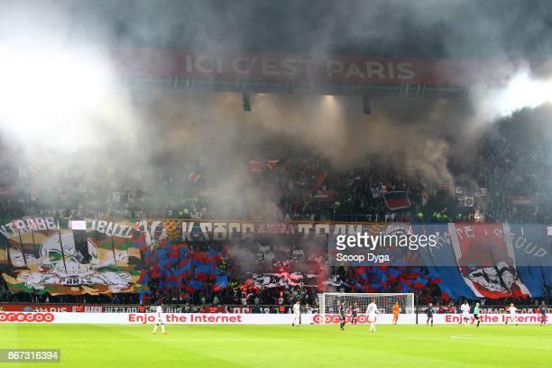 Fans of PSG during the Ligue 1 match between Paris Saint Germain and OGC Nice at Parc des Princes on October 27 2017 in Paris