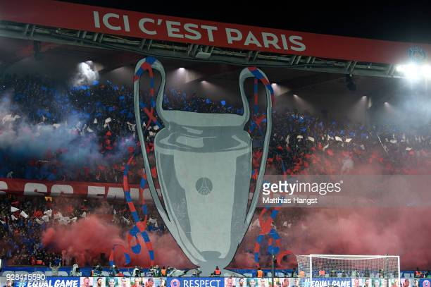 Fans of PSG seen during the UEFA Champions League Round of 16 Second Leg match between Paris SaintGermain and Real Madrid at Parc des Princes on...