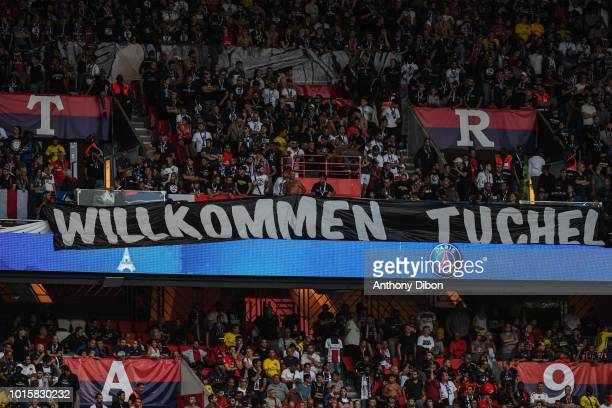 Fans of PSG with a welcome baneer for Thomas Tuchel coach of PSG during the French Ligue 1 match between Paris Saint Germain and Caen at Parc des...